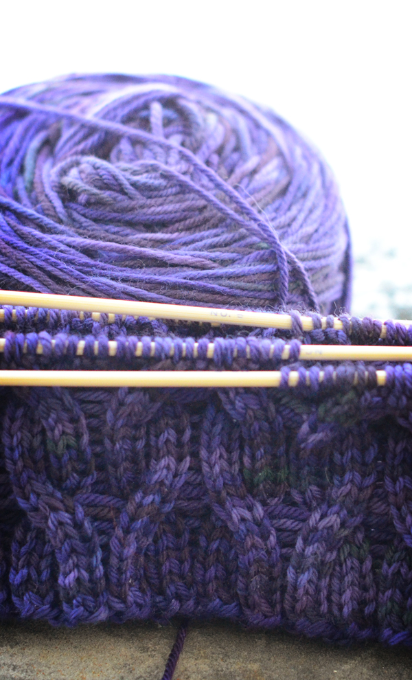purple knit hat, side a