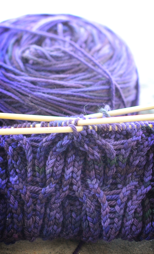 purple knit hat, side b