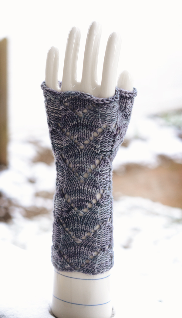 blue fingerless mitt front