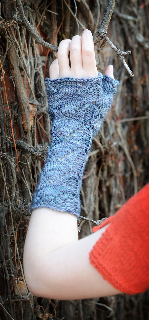 Adumbrate fingerless mitts by Hunter Hammersen